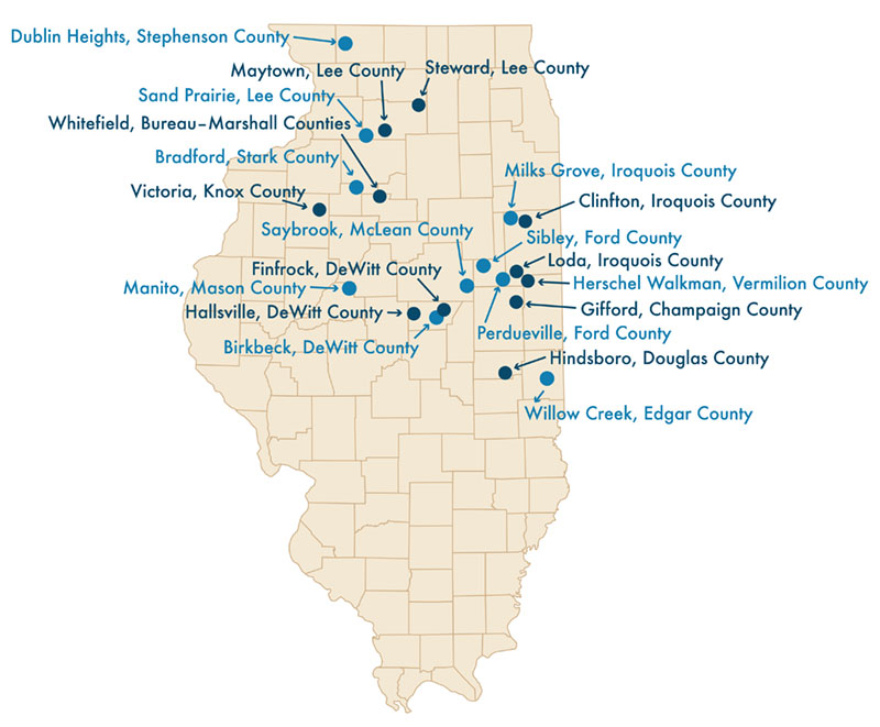 A map of Illinois counties with arrows pointing to Illinois' Pheasant Habitat/State Habitat Areas.
