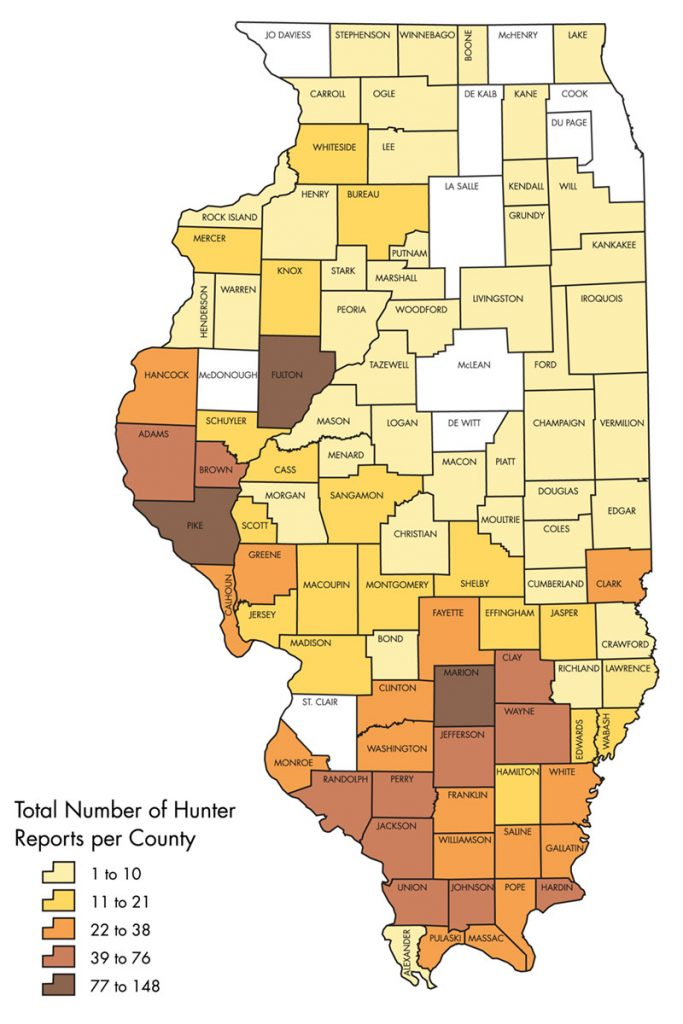 Statewide map of Illinois that graphically conveys the total number of hunter reports per county reported by successful deer hunters in those counties. The counties known to have breeding populations of feral swine are Marion and Fulton counties.