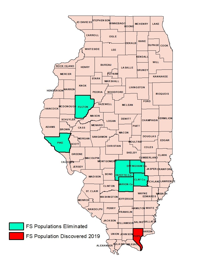 A map of Illinois indicating the counties that feral swine populations were eliminated and discovered.