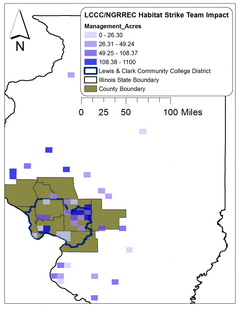A graphic of the state of Illinois illustrating the regional and L&C district acreage impact of NGRREC's Habitat Strike Team by township from May 2016 to September 2019. The area includes the central west-side of the state.