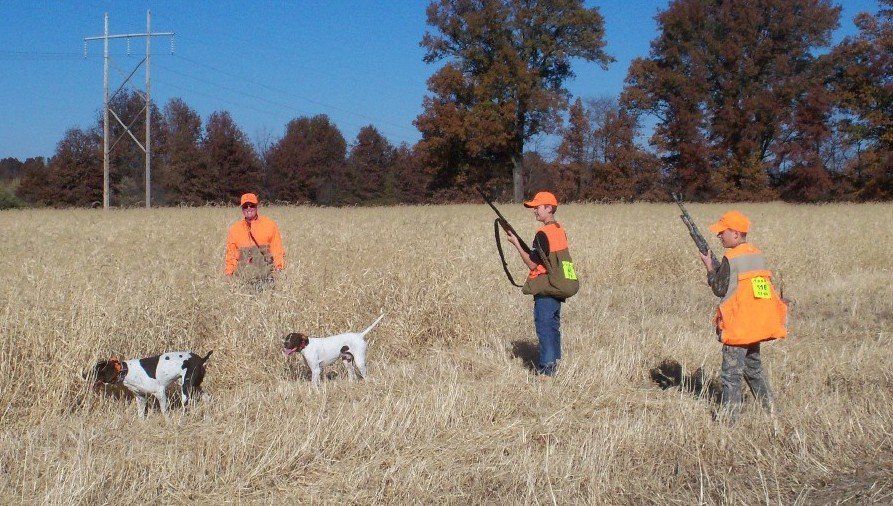 Two youth and one adult hunters in blaze orange ball caps and vests stand in a grassy field with two brown and white hunting dogs. Trees in a fence row are in the background.