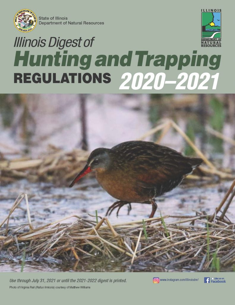 The image of the cover page of the Illinois Digest of Hunting and Trapping Regulations 2020–2021. The cover is mostly light olive green and features a large photo of a brown long-legged marsh bird foraging along a wetland shore.