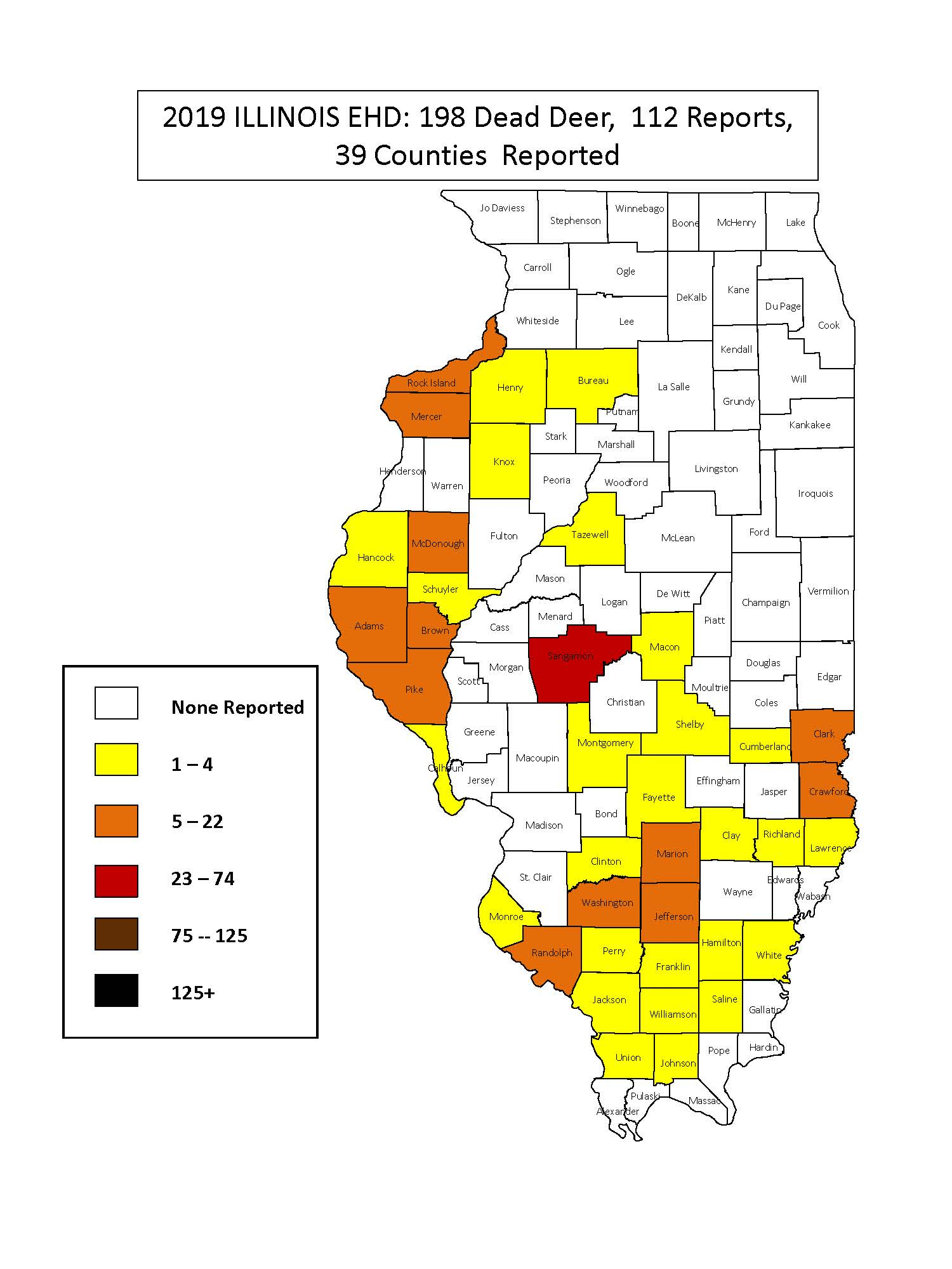 A map of Illinois counties colored in yellow or orange to indicate which counties have reports of Epizootic Hemorrhagic Disease in deer.