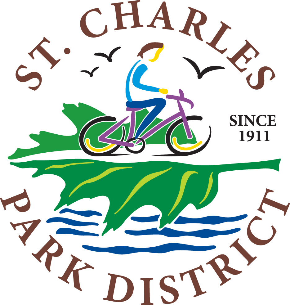 The images is a logo for St. Charles Park District. The logo has a person riding a bicycle on top of a leaf which is all over waves at the bottom of the graphic. Three flying birds are in the background at the top.