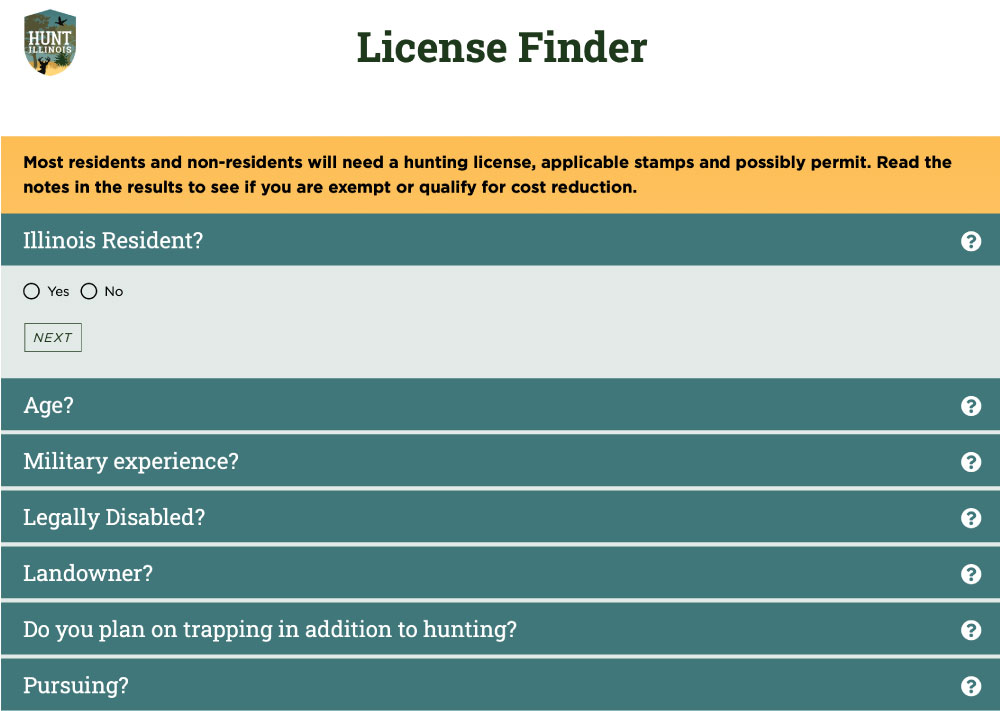 A screenshot of the Hunt Illinois website on the License Finder page. Users can options in the form that apply to them.
