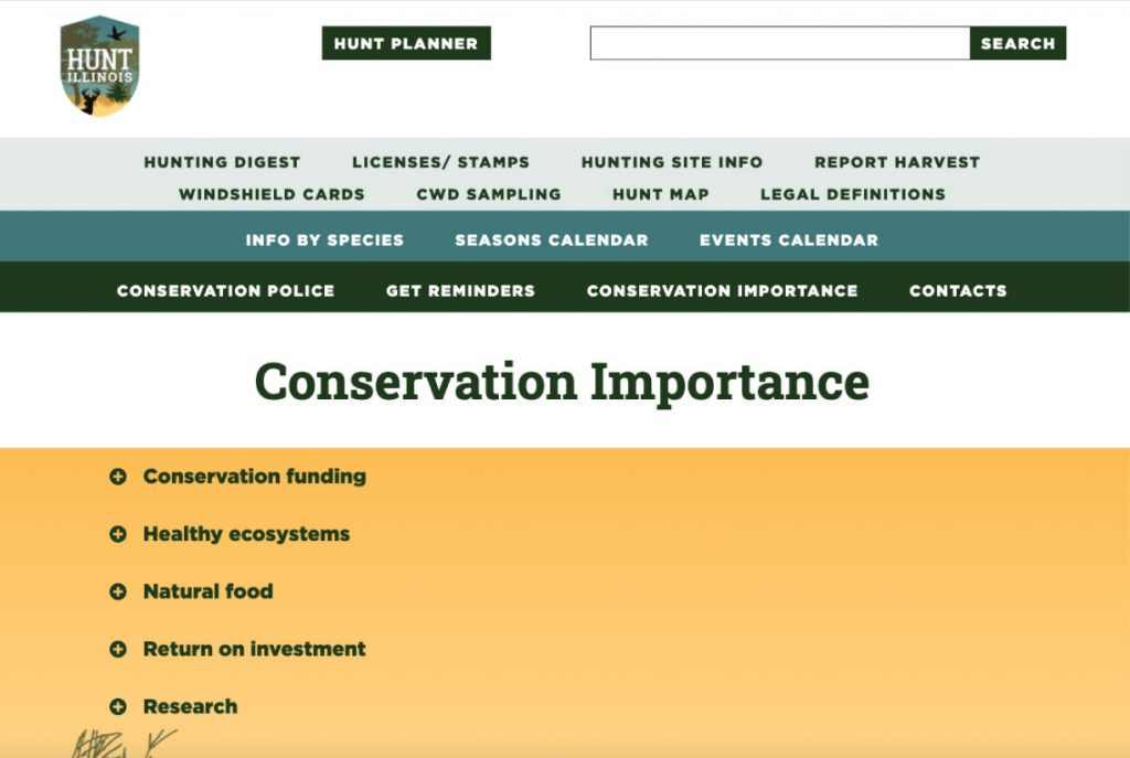 A screenshot of the Hunt Illinois website on the Conservation Importance page. Users can learn how hunting contributes to conservation funding, healthy ecosystems, natural food, return on investment, and research.