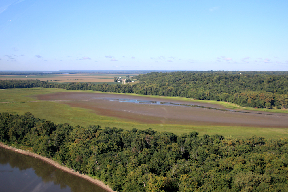Against a blue sky is an aerial view of a wetland next to a river or waterway. The wetland is surrounded by lush green vegetation and forests form a perimeter. In the distance, one can see agricultural fields and farms.