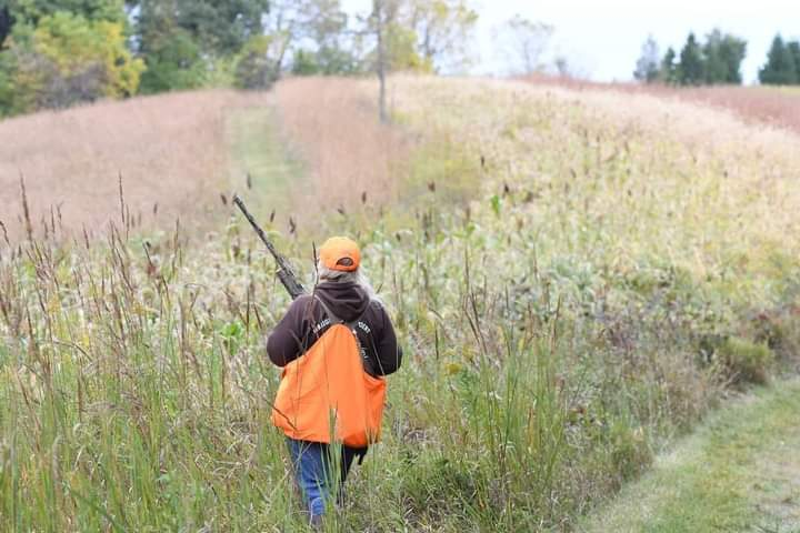 A hunter with a blaze orange vest and hat walking through a prairie. Trees are in the distance.