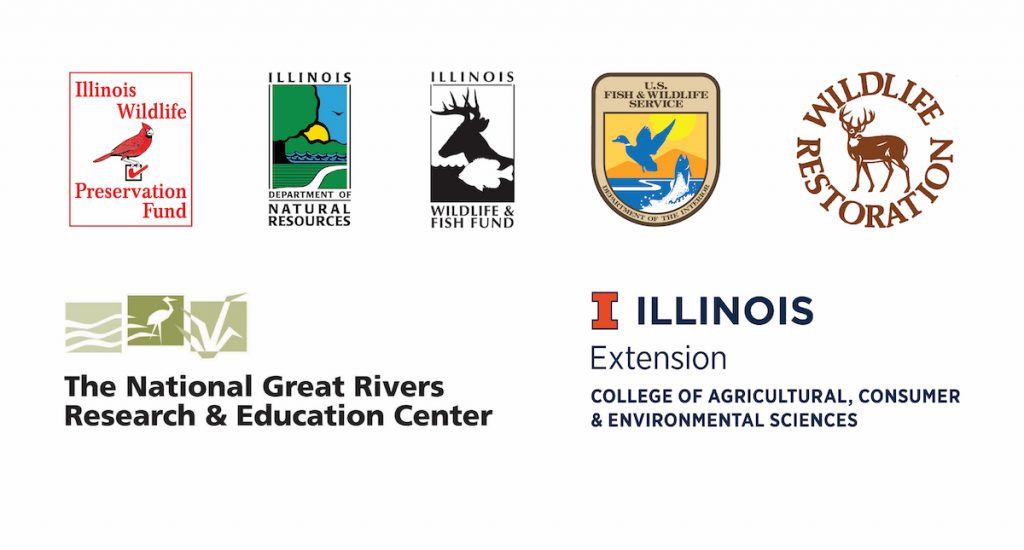 A graphic with several logos including the Illinois Wildlife Preservation Fund, Illinois Department of Natural Resources, Illinois Wildlife and Fish fund, U.S. Fish and Wildlife Service, Wildlife Restoration, The National Great Rivers Research and Education Center, and Illinois Extension College of Agricultural, Consumer and Environmental Sciences.
