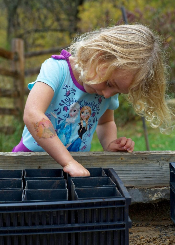 A young female child plants seeds in black potting containers. A fall forest is in the background.