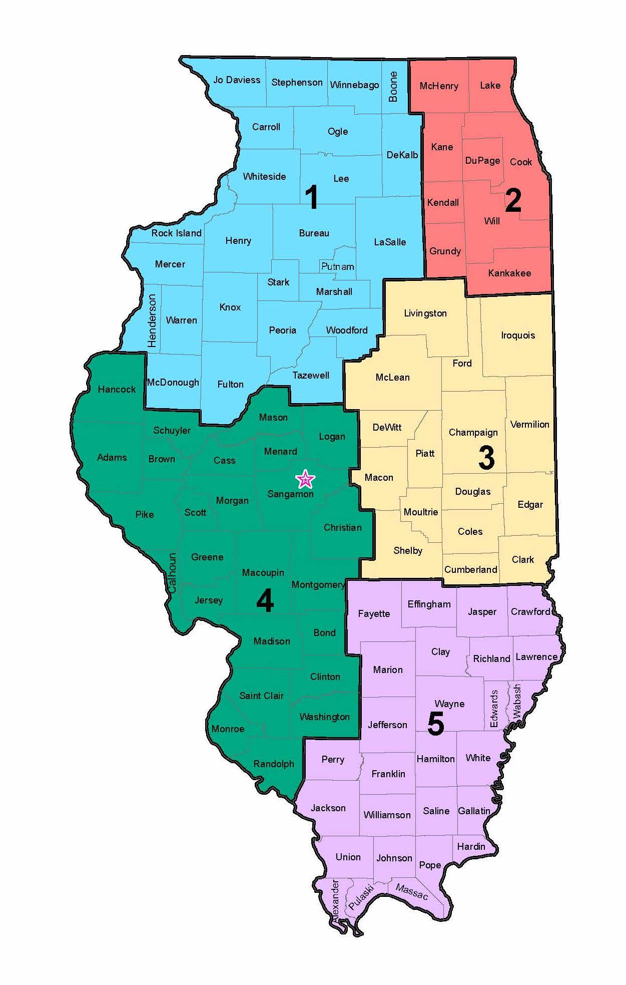 A map of the state of Illinois divided into 5 separate regions.
