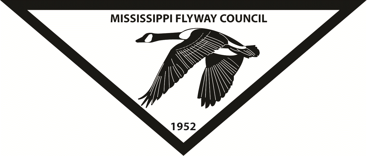 """A black and white logo including a flying Canada goose in a white triangle with a black outline. Inside the triangle are the words """"Mississippi Flyway Council."""""""