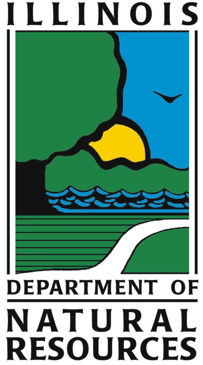 The logo for the Illinois Department of Natural Resources includes a blue sky with a flying bird, a yellow setting sun behind some green trees, and blue waves indicating a wetland. In the foreground is a trail through a green area and a green tree on the left.