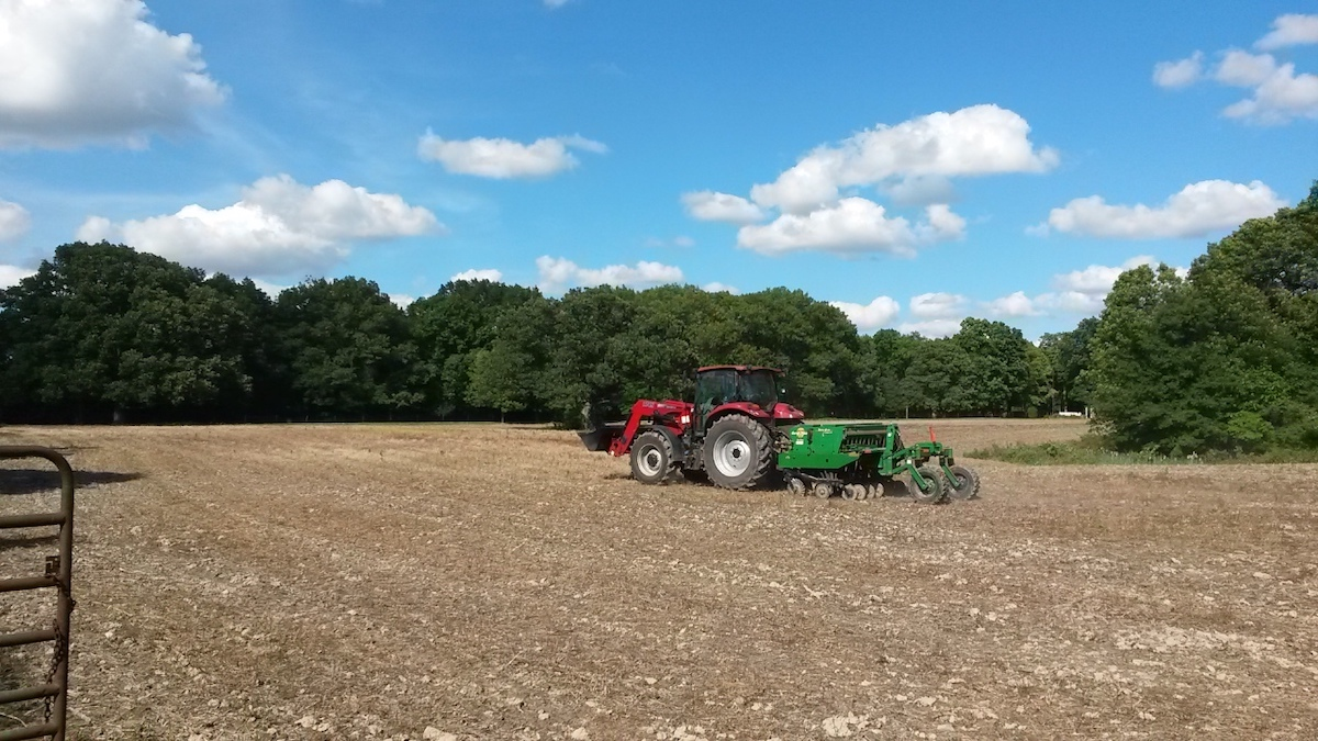 A farmer drives a red tractor that is pulling a green implement in an agricultural field. In the background is a woodland against a bright blue partly cloudy sky.