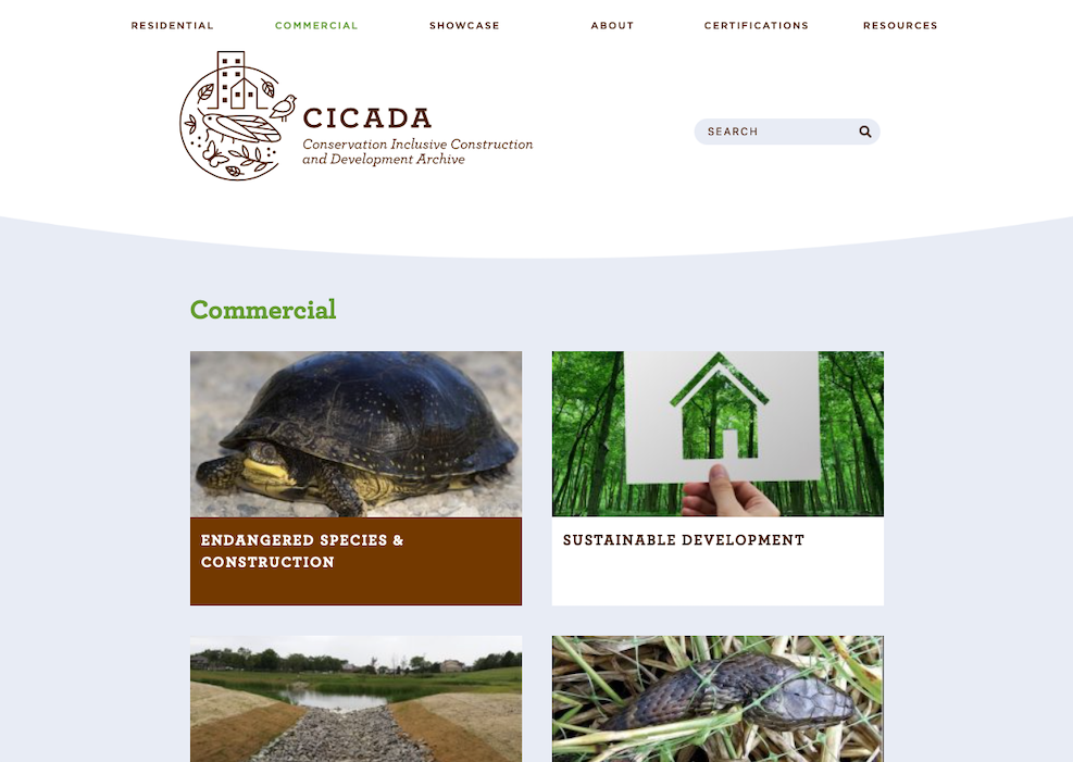 The Commercial section of the new CICADA website including different Endangered Species and Construction, Sustainable Development, Soil Erosion Control, Wildlife Friendly Erosion Control, Stormwater Management, Tree Care in Construction Zones, Outdoor Lighting, Solar Power, Communication Towers, Electric Utility Lines, and Helpful Information From The Residential Section. Each section has a relevant photo.