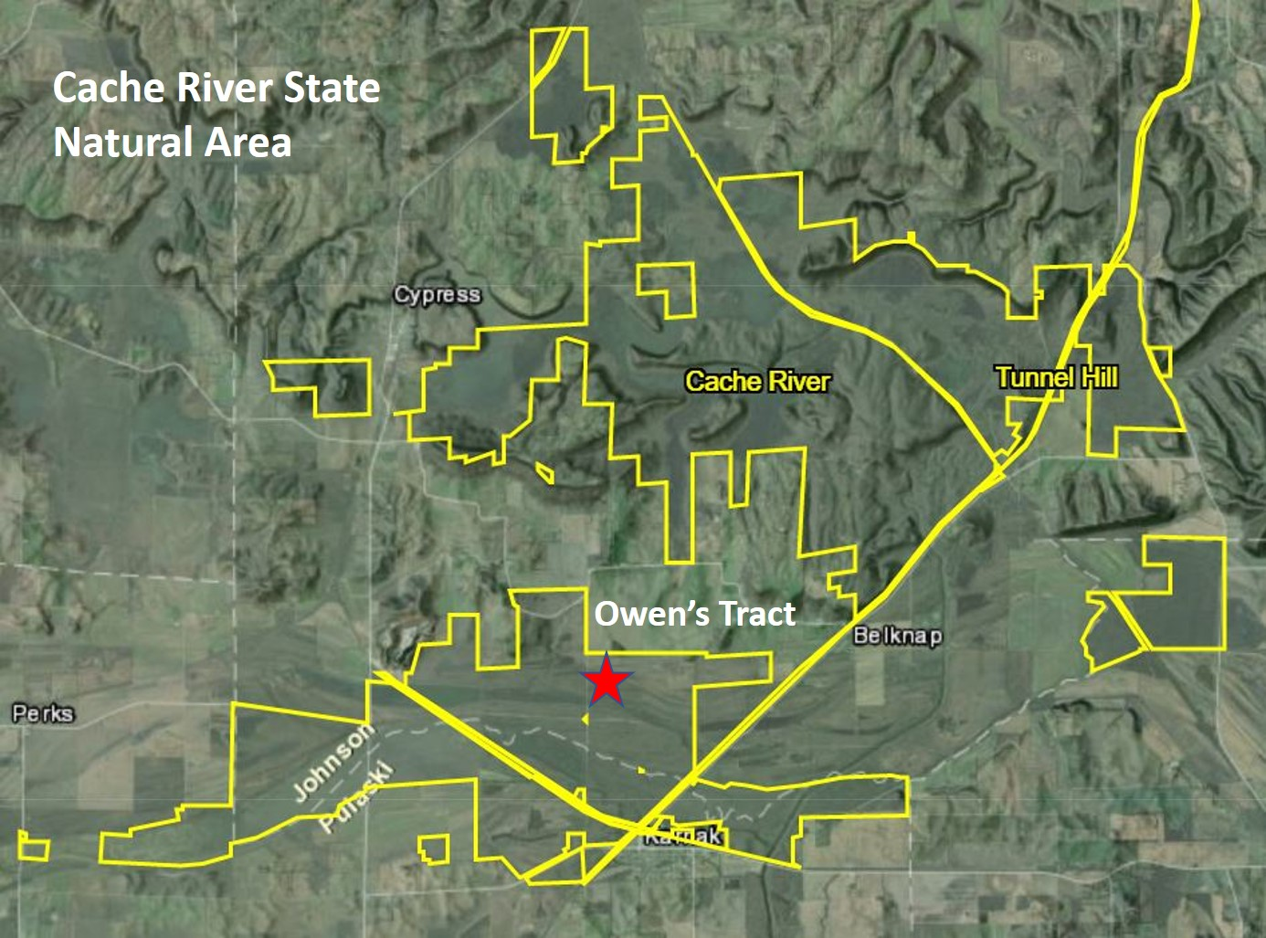 A map of the Cache River State Natural area with topography and a star indicating the Owen's Tract.