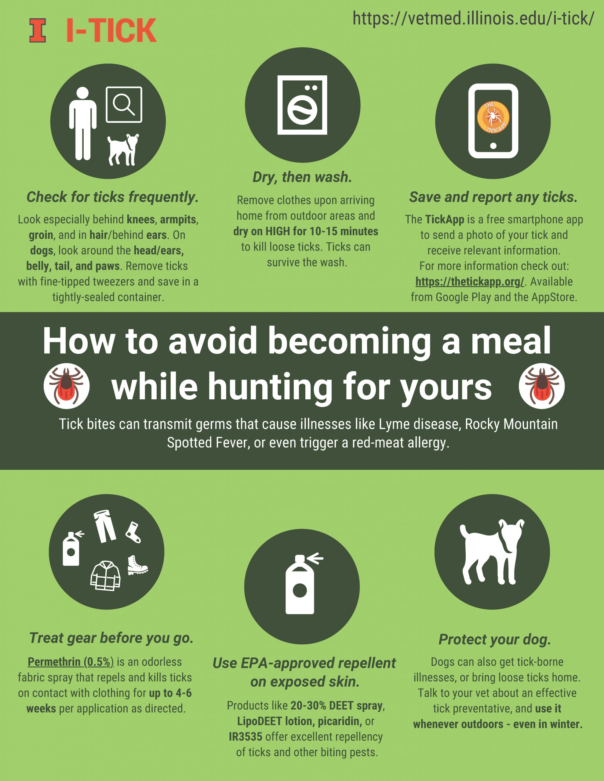 An infographic describing how to avoid ticks while being outdoors. Tips included in the graphic are check for ticks frequently, dry clothes, then wash clothes, save and report any ticks, treat gear with permethrin (0.5%) before going out, use EPA-approved repellent on exposed skin, and protect your dog.