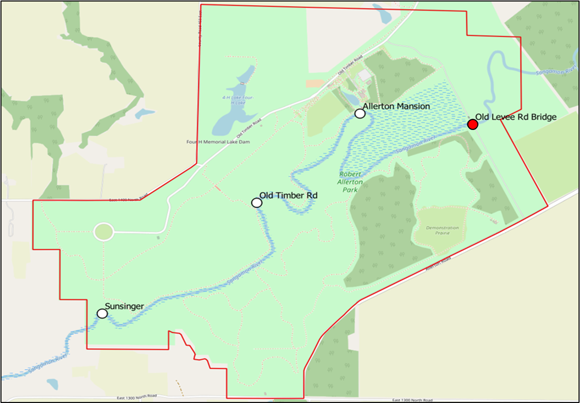 A map of Allerton Park with survey sites along a river marked by a small circles and text: Sunsinger, Old Timber Road, Allerton Mansion, and Old Levee Road Bridge.