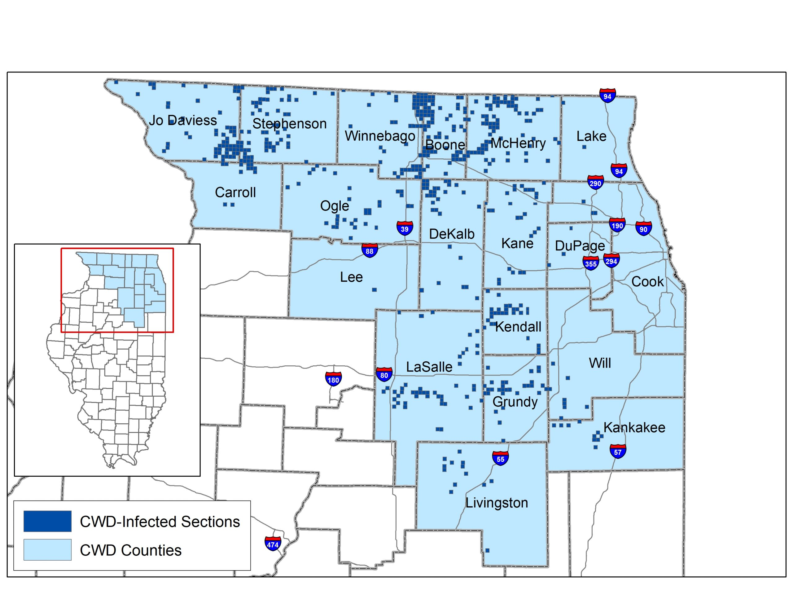 A map of Illinois indicating areas with Chronic Wasting Disease infected deer. Most of the top right of the state has Chronic Wasting Disease areas.