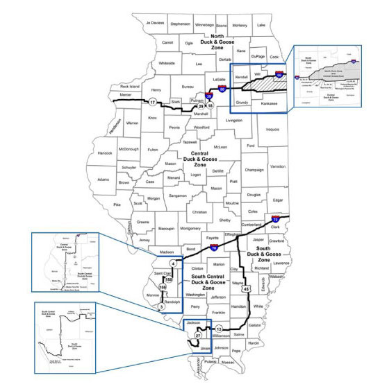 A map of Illinois indicating the waterfowl hunting zone boundaries.