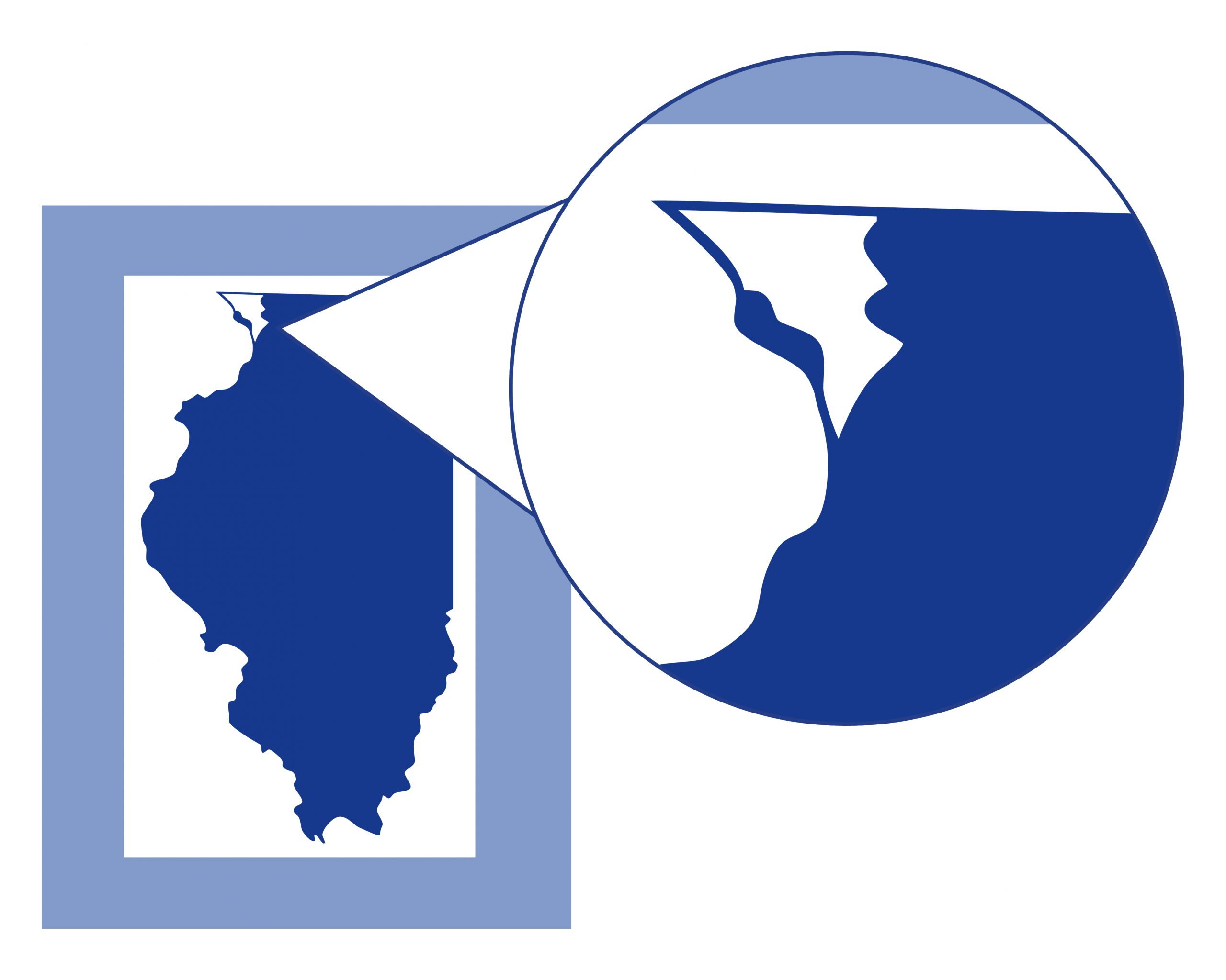 A blue map of Illinois with a white area indicating the north west section of the driftless area.