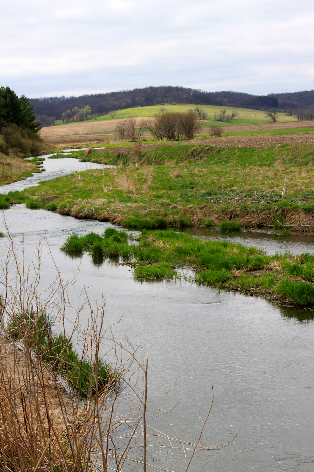 A stream flows over a early spring landscape with agricultural fields and a forest of trees in the background against a gray sky.